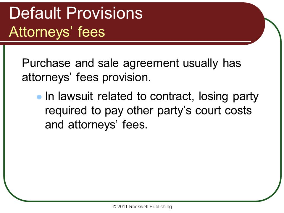 Default Provisions Attorneys' fees