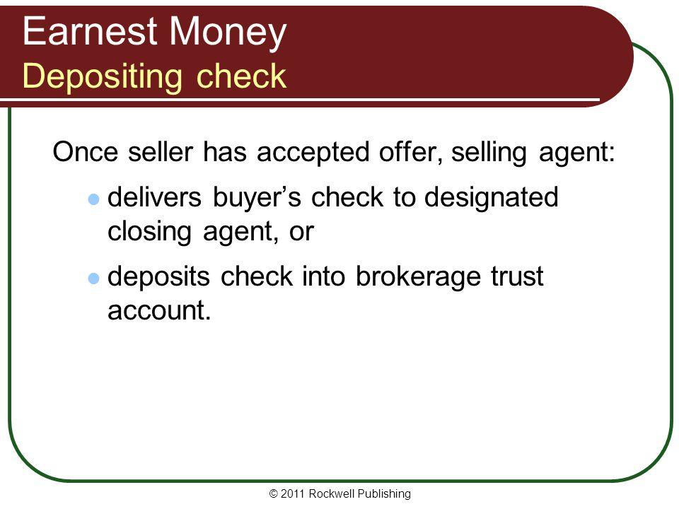 Earnest Money Depositing check
