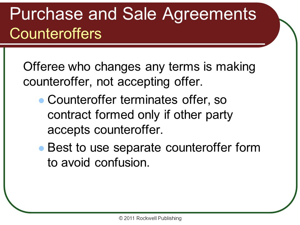 Purchase and Sale Agreements Counteroffers