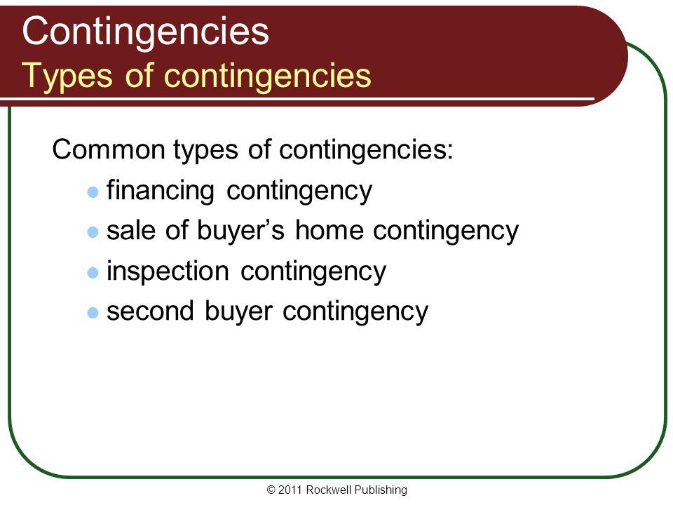 Contingencies Types of contingencies
