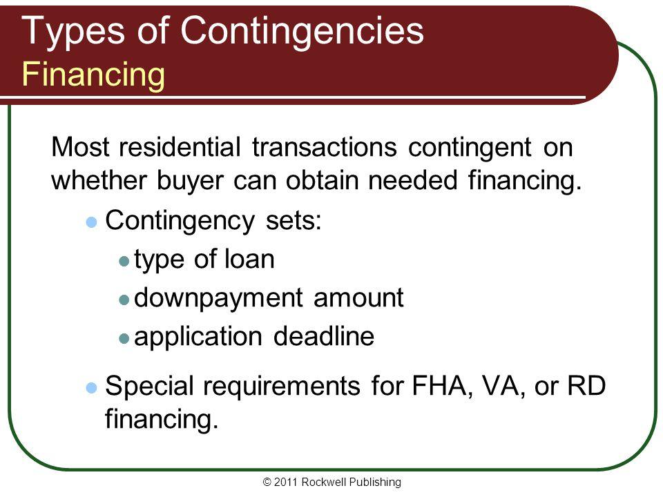 Types of Contingencies Financing