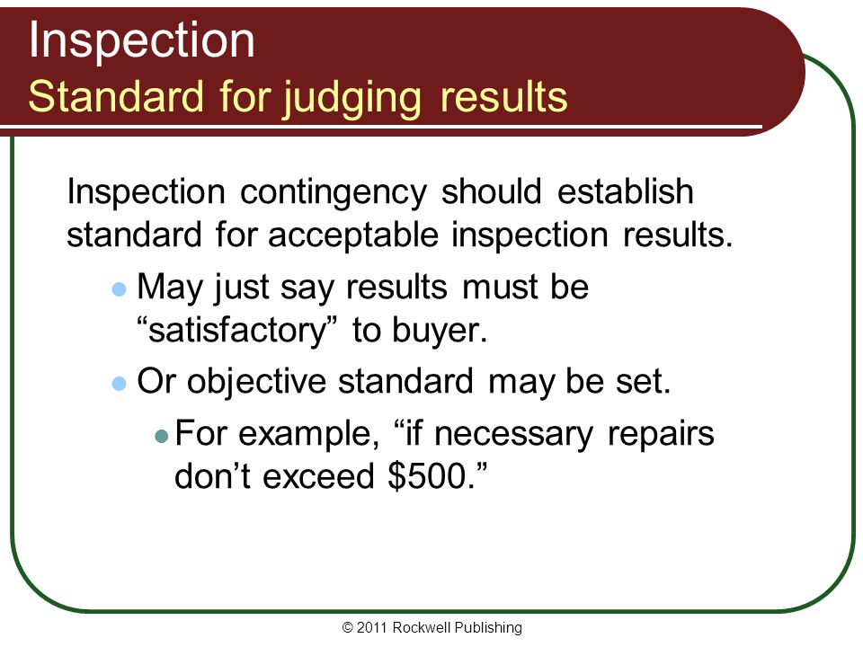 Inspection Standard for judging results