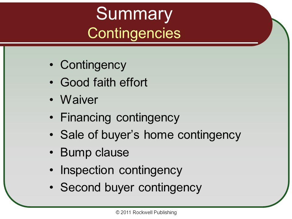 Summary Contingencies