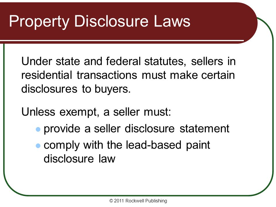 Property Disclosure Laws