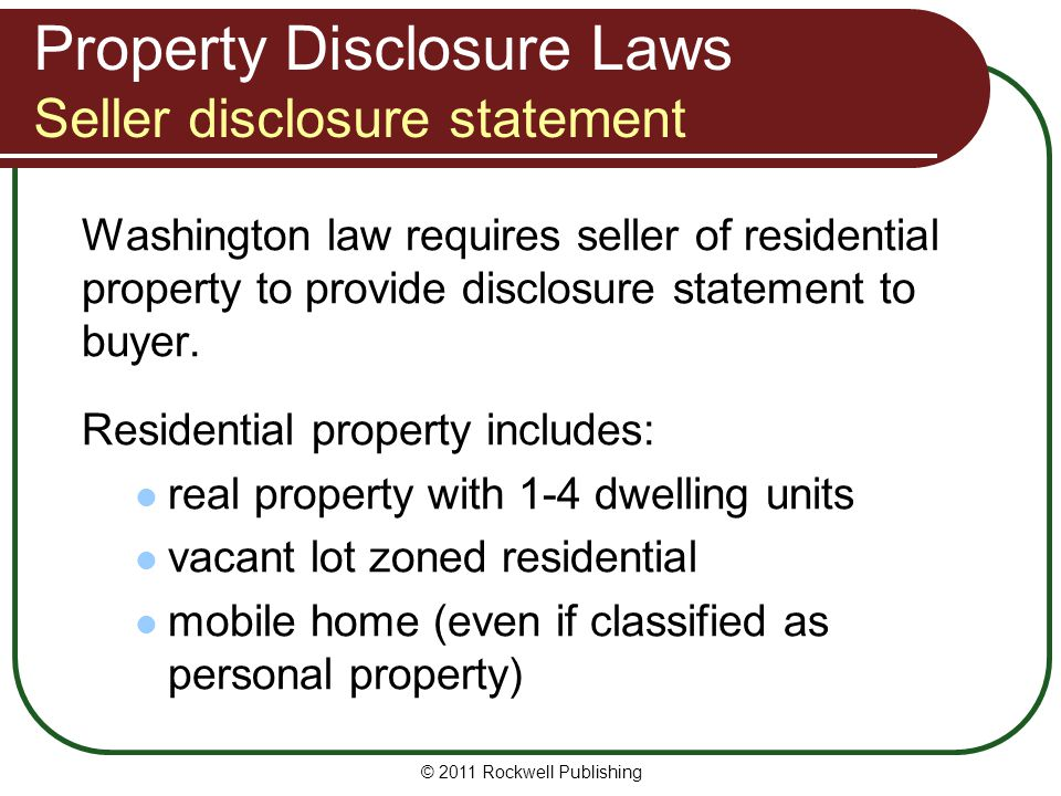 Property Disclosure Laws Seller disclosure statement