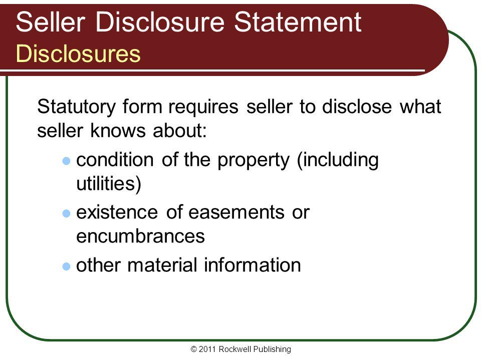 Seller Disclosure Statement Disclosures