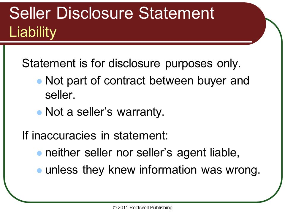 Seller Disclosure Statement Liability