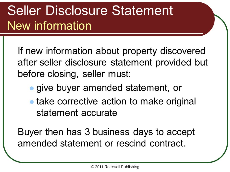 Seller Disclosure Statement New information