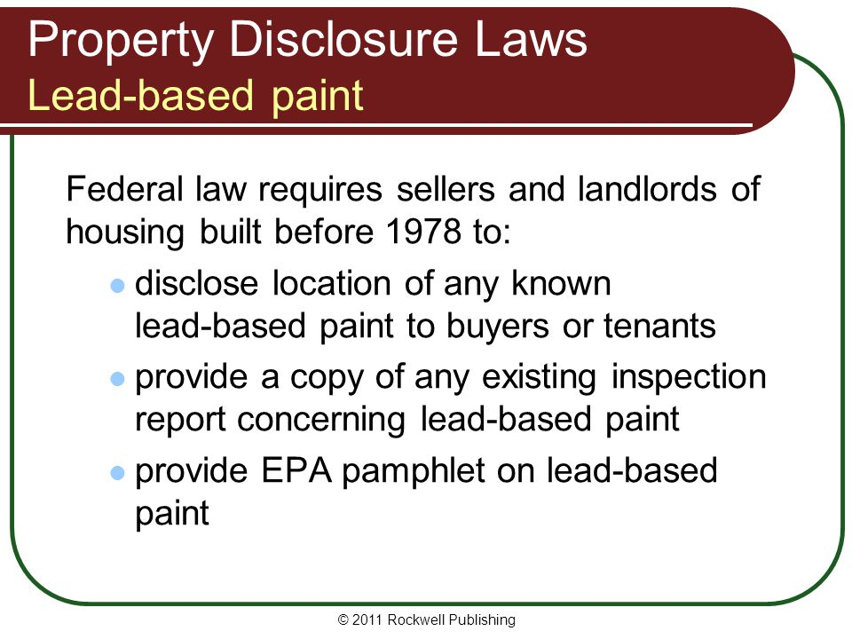 Washington real estate fundamentals ppt video online for Lead based paint inspection