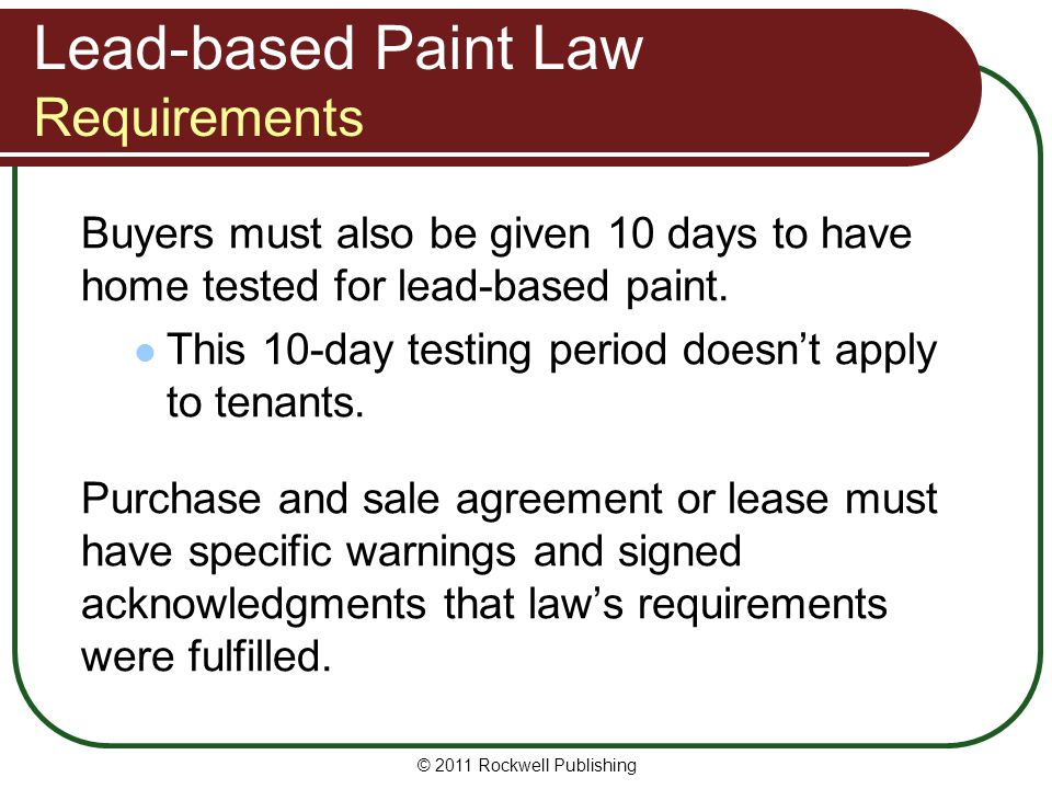 Lead-based Paint Law Requirements