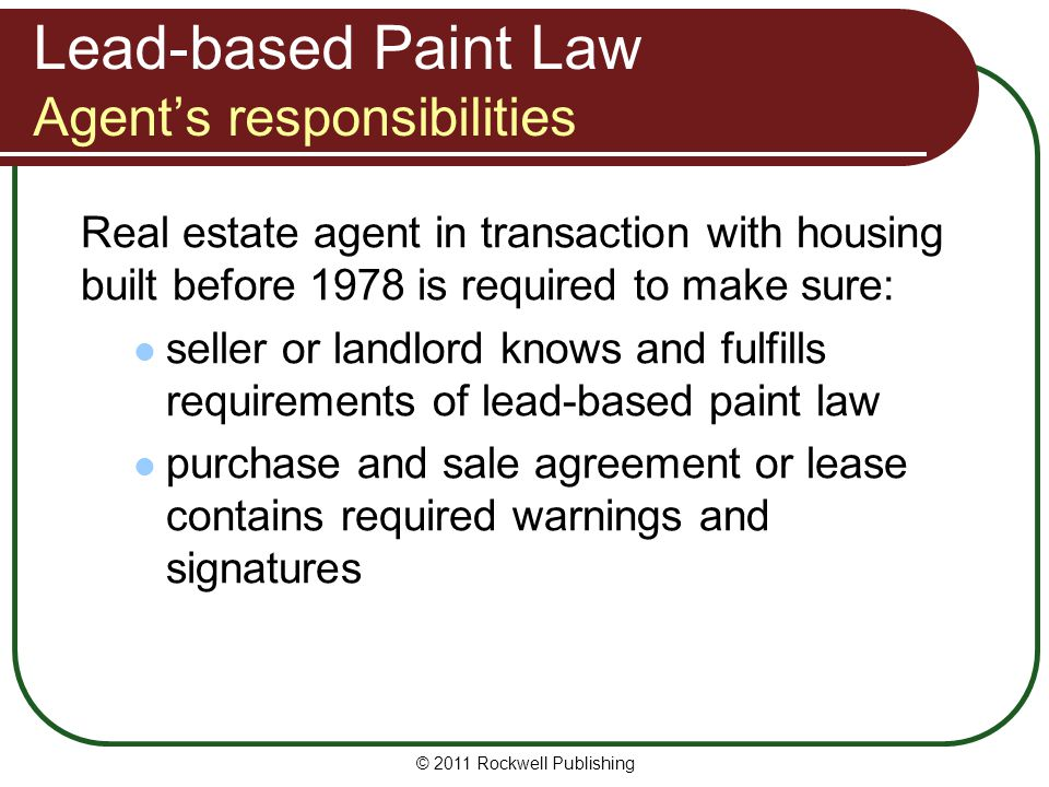 Lead-based Paint Law Agent's responsibilities