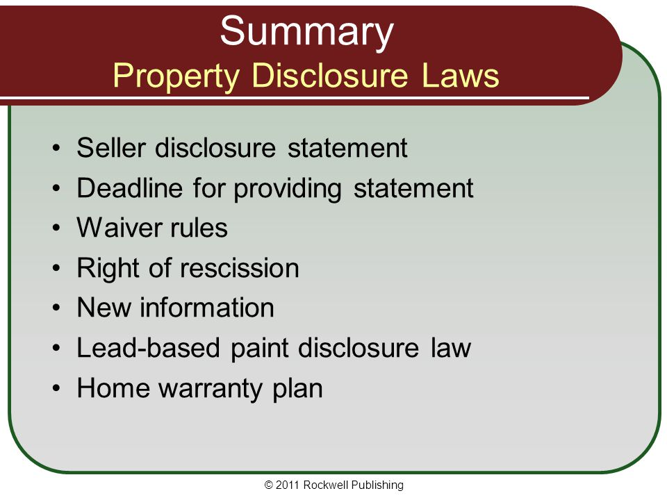 Summary Property Disclosure Laws