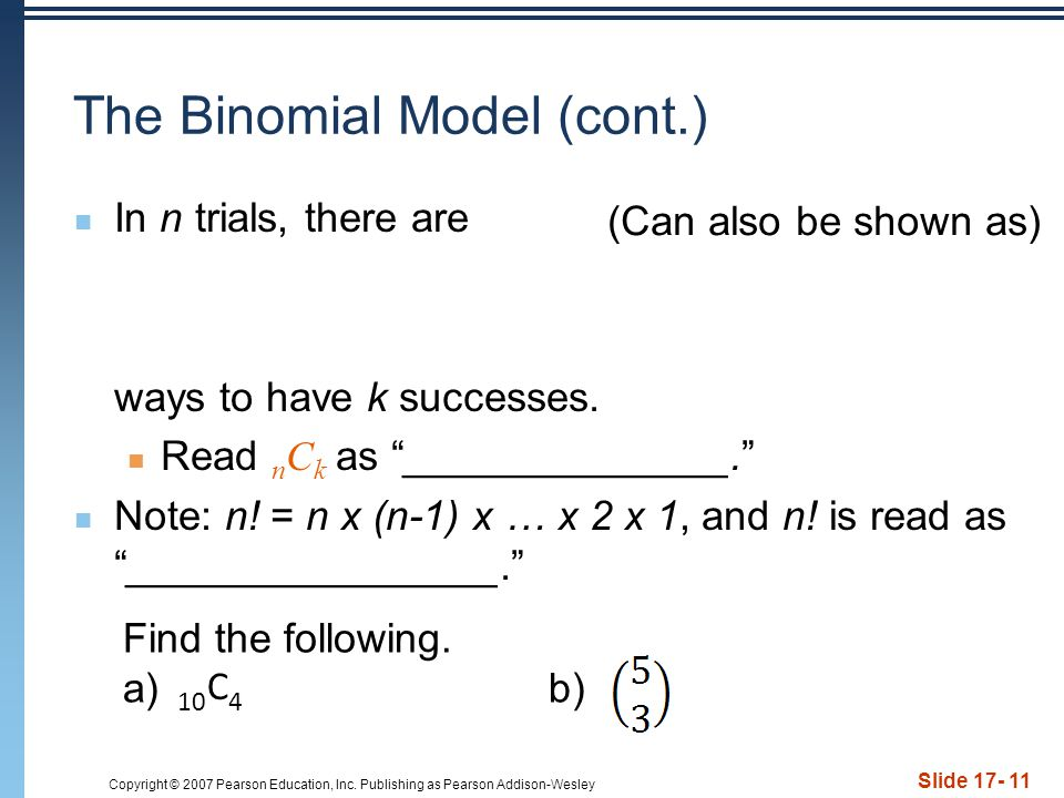 The Binomial Model (cont.)