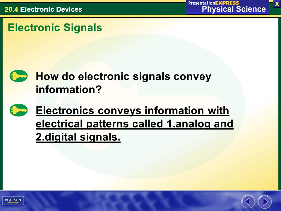 Electronic Signals How do electronic signals convey information