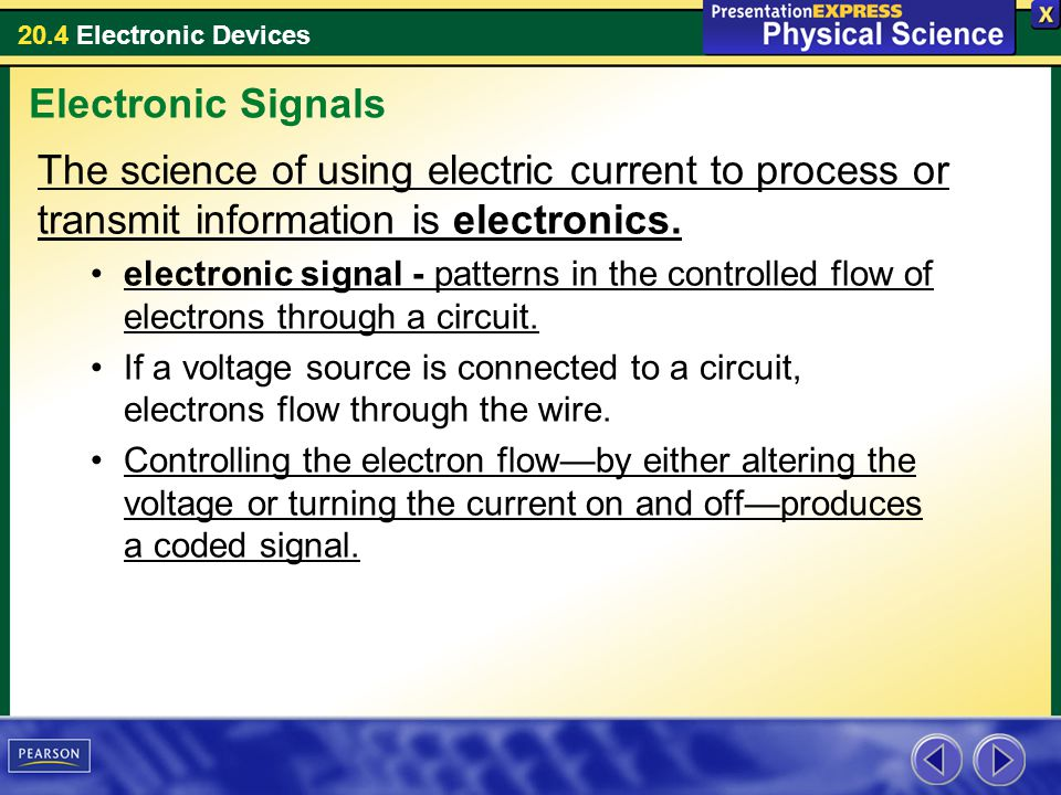Electronic Signals The science of using electric current to process or transmit information is electronics.