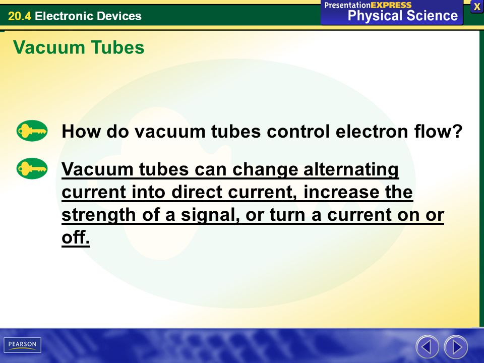 Vacuum Tubes How do vacuum tubes control electron flow
