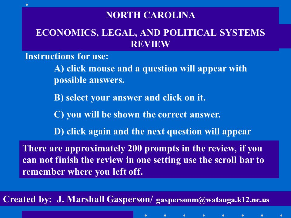 ECONOMICS, LEGAL, AND POLITICAL SYSTEMS REVIEW