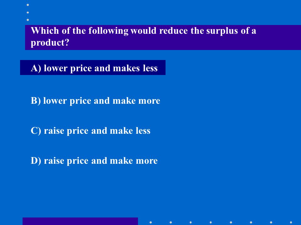 Which of the following would reduce the surplus of a product
