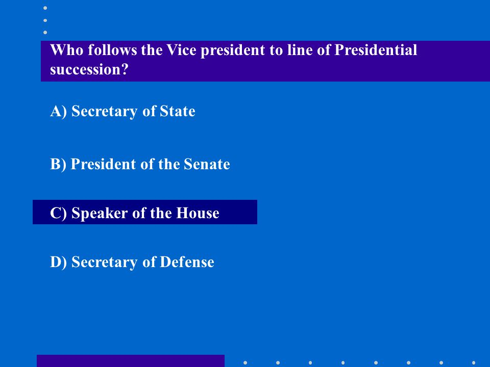 Who follows the Vice president to line of Presidential succession