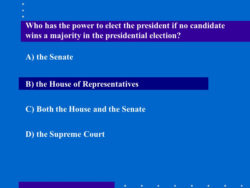Who has the power to elect the president if no candidate wins a majority in the presidential election