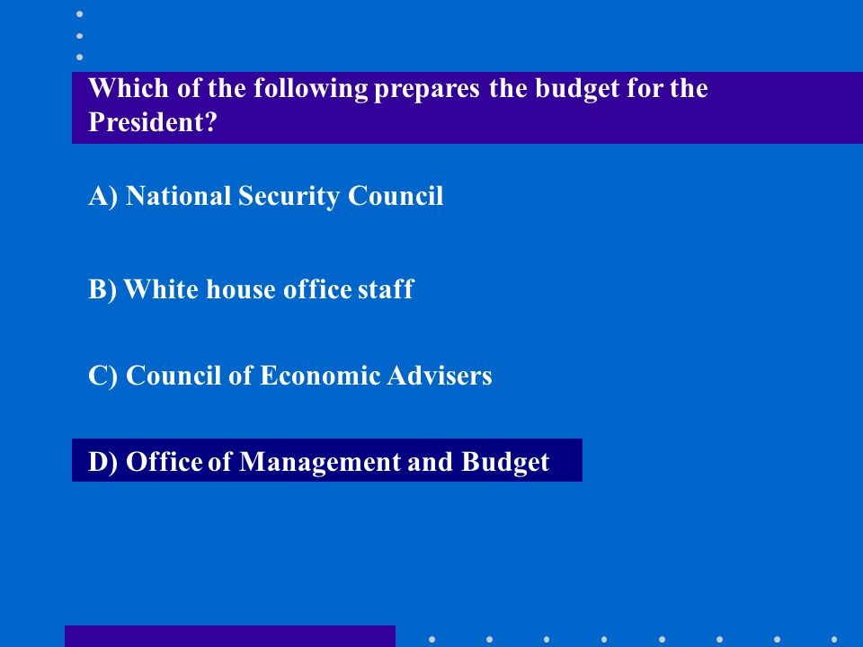 Which of the following prepares the budget for the President