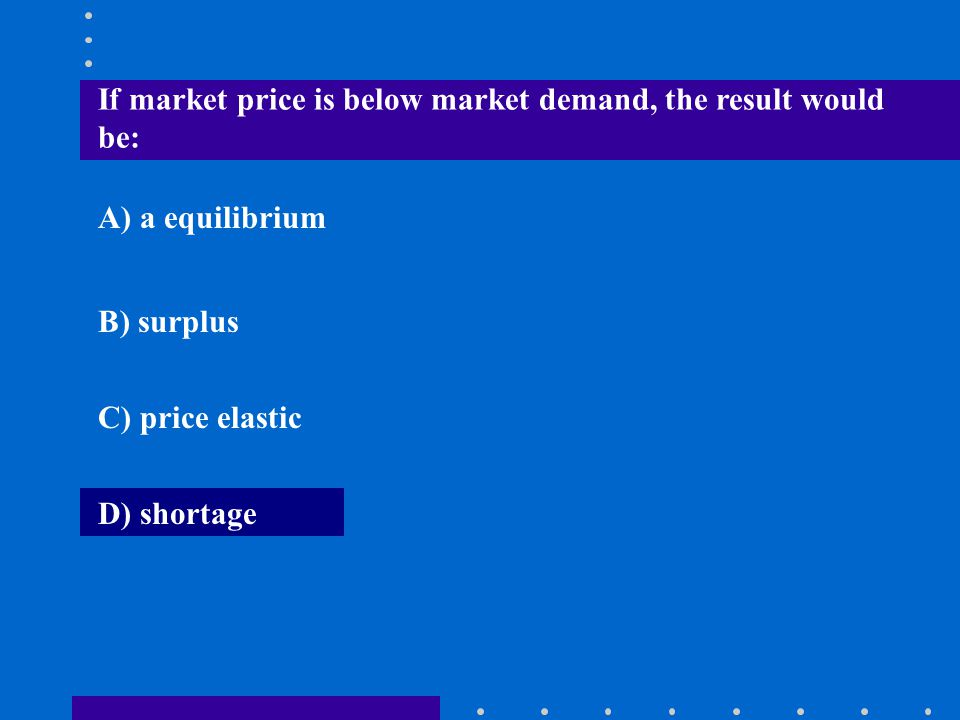 If market price is below market demand, the result would be: