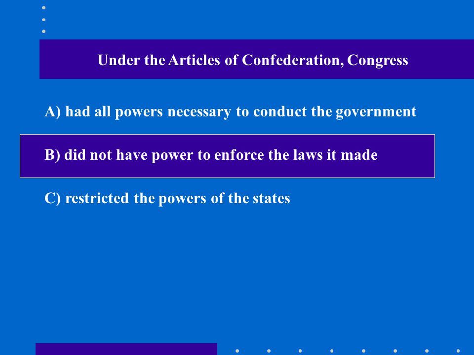 Under the Articles of Confederation, Congress