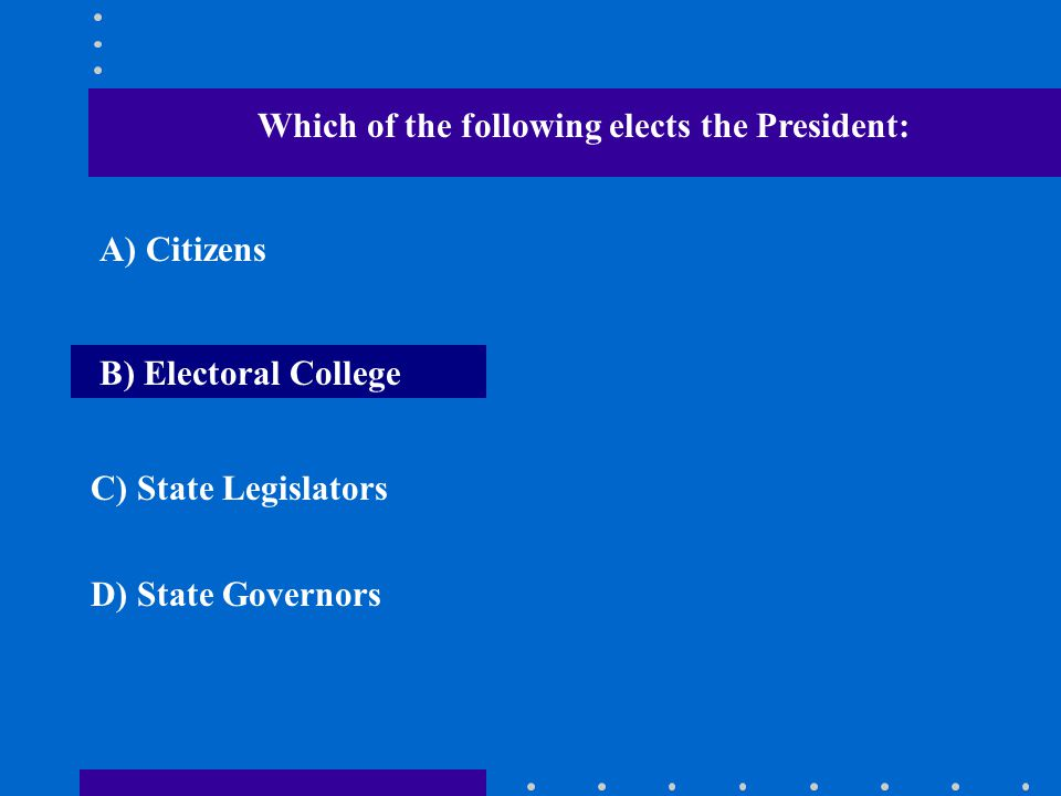 Which of the following elects the President: