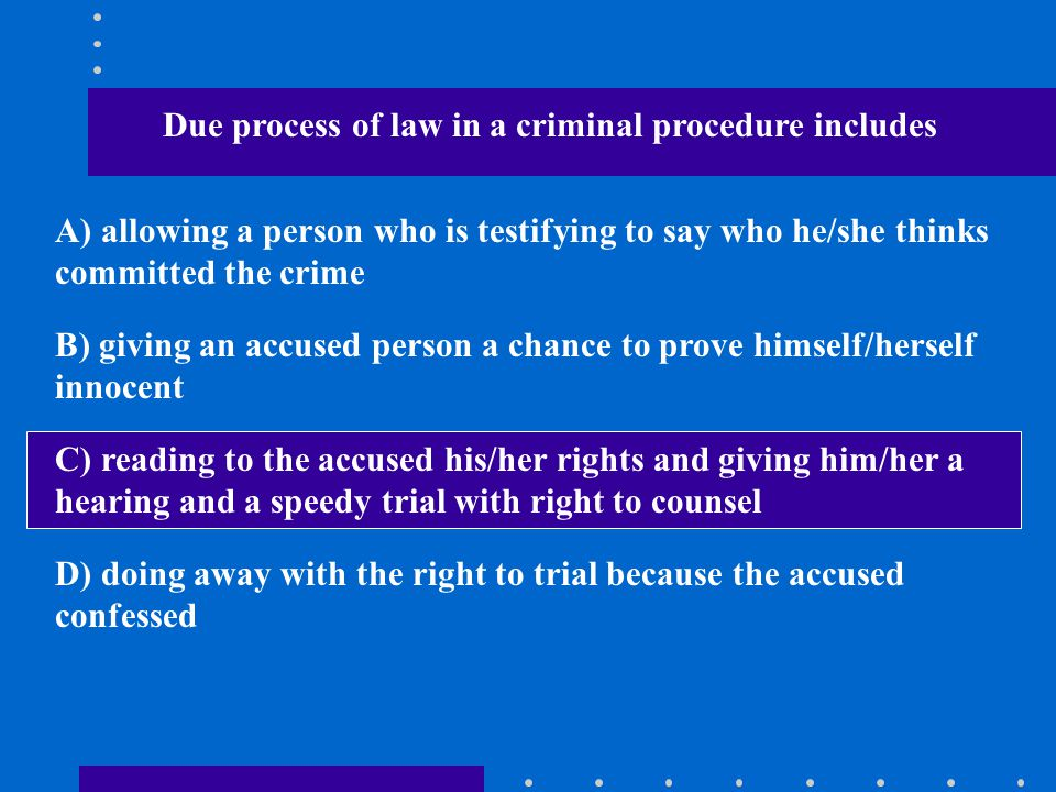 Due process of law in a criminal procedure includes