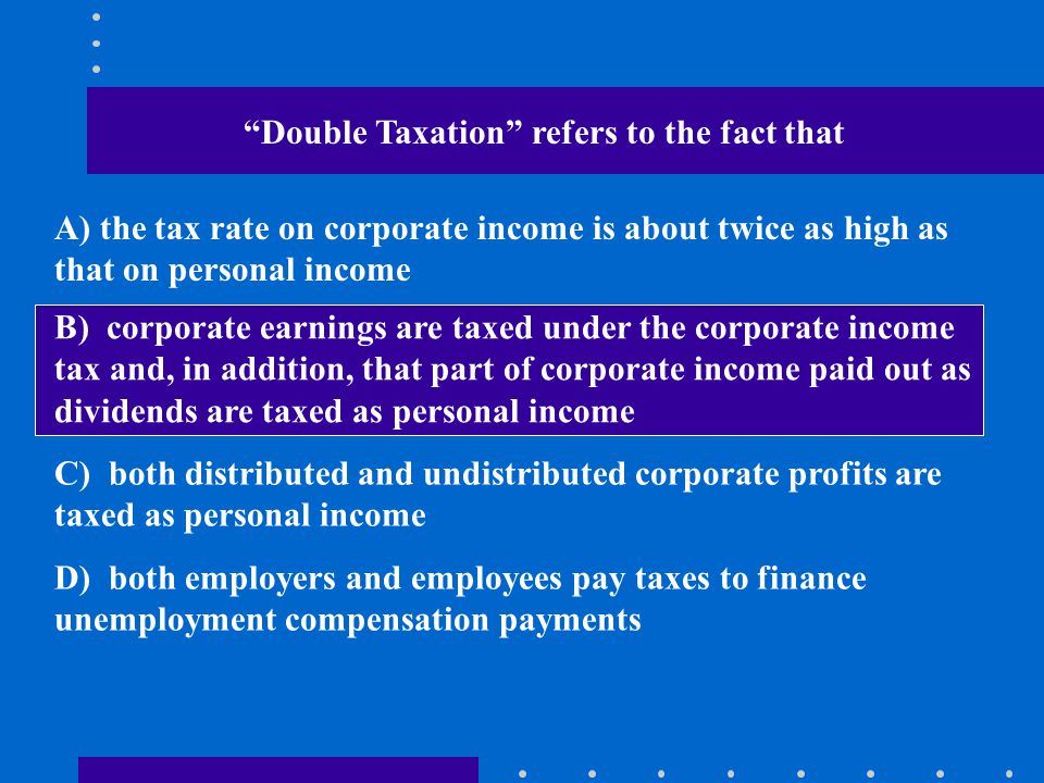 Double Taxation refers to the fact that