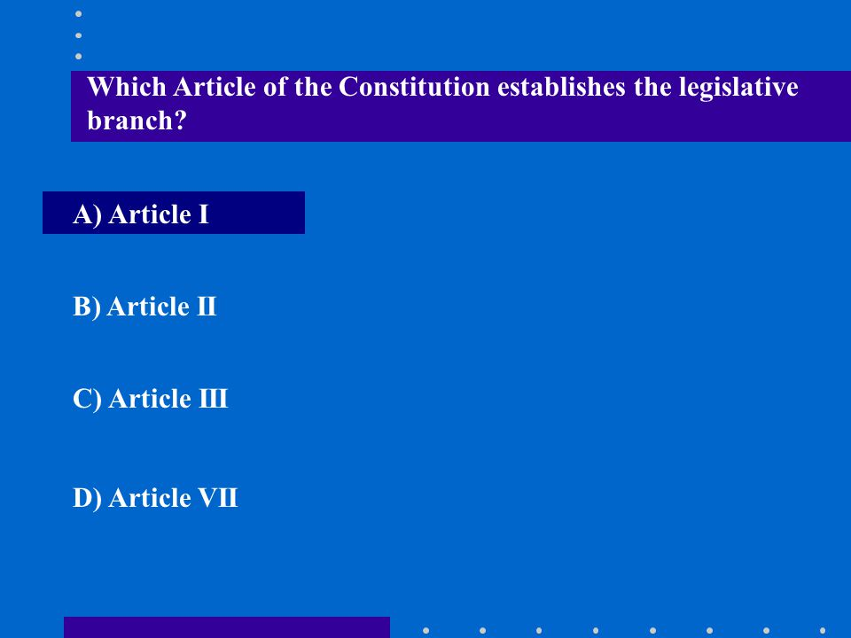 Which Article of the Constitution establishes the legislative branch
