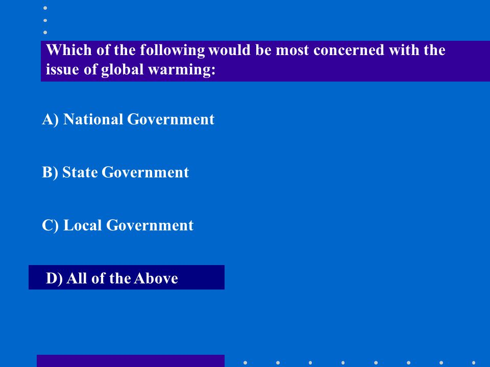 Which of the following would be most concerned with the issue of global warming:
