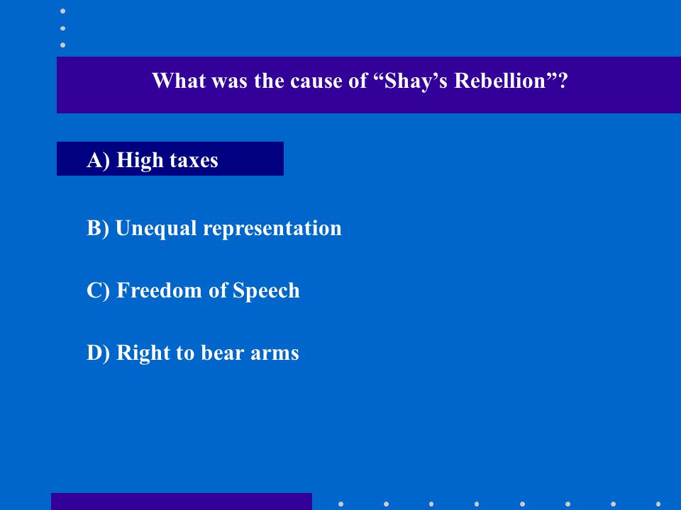 What was the cause of Shay's Rebellion