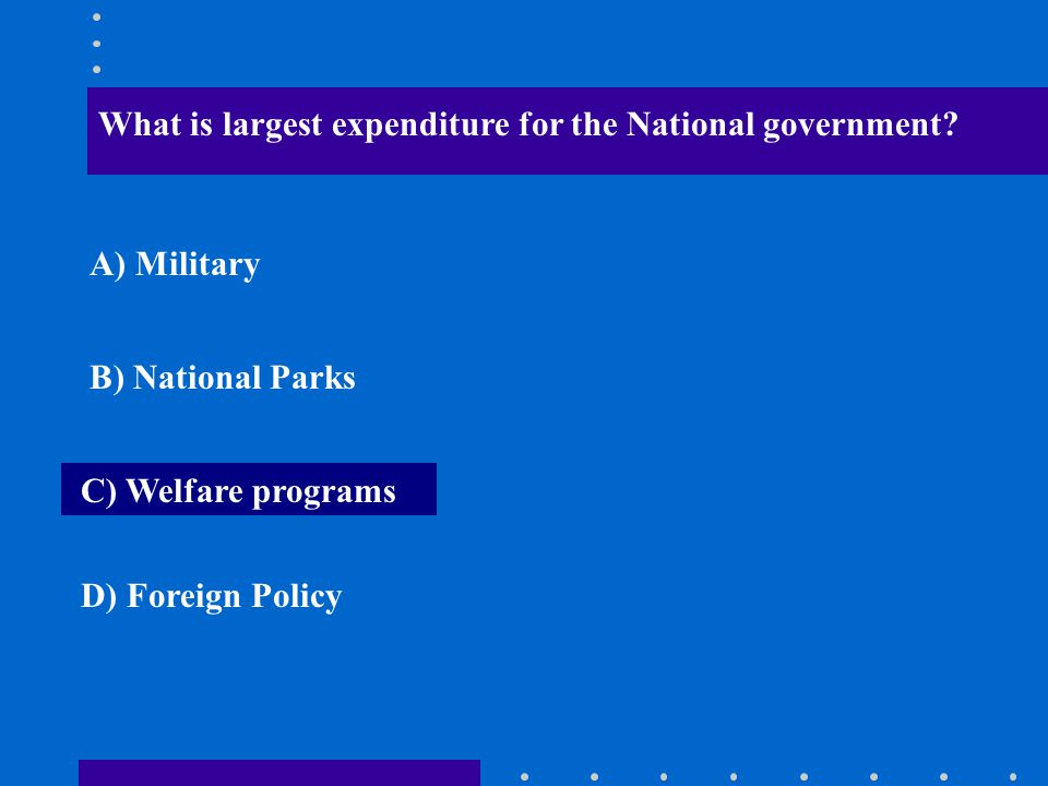 What is largest expenditure for the National government