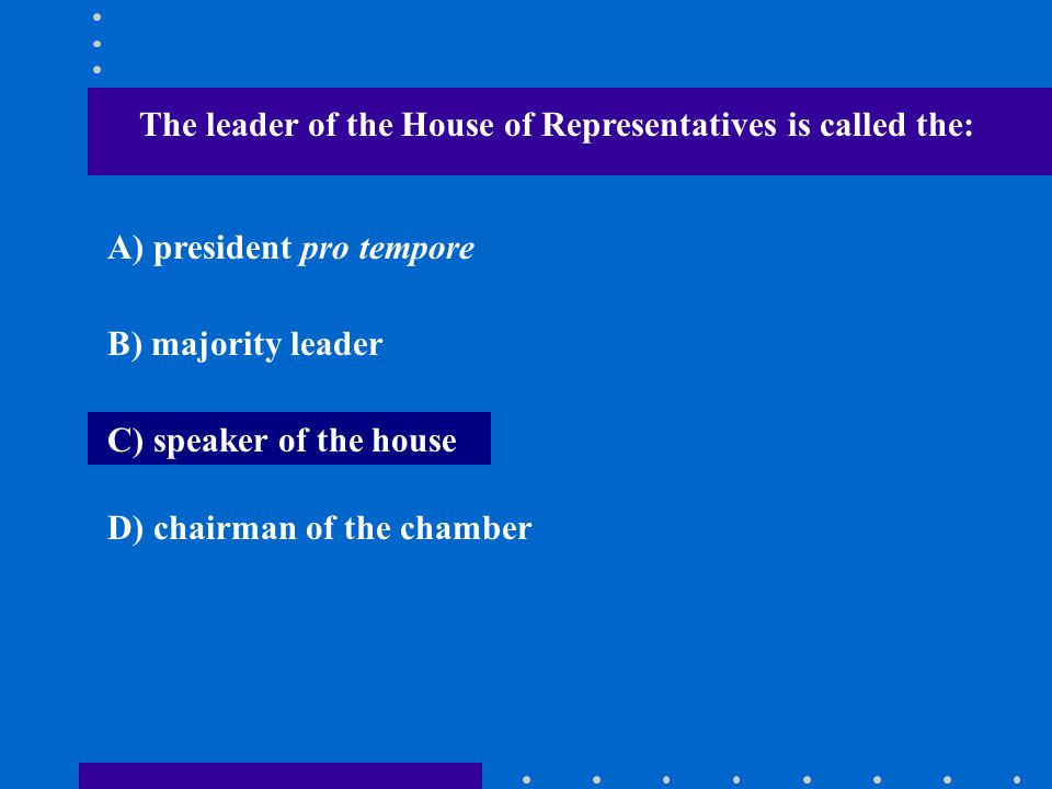 The leader of the House of Representatives is called the: