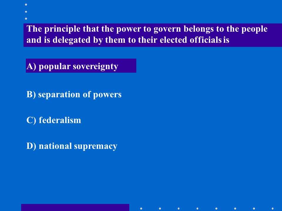The principle that the power to govern belongs to the people and is delegated by them to their elected officials is