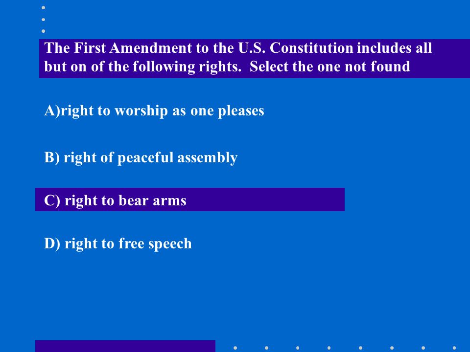 The First Amendment to the U. S