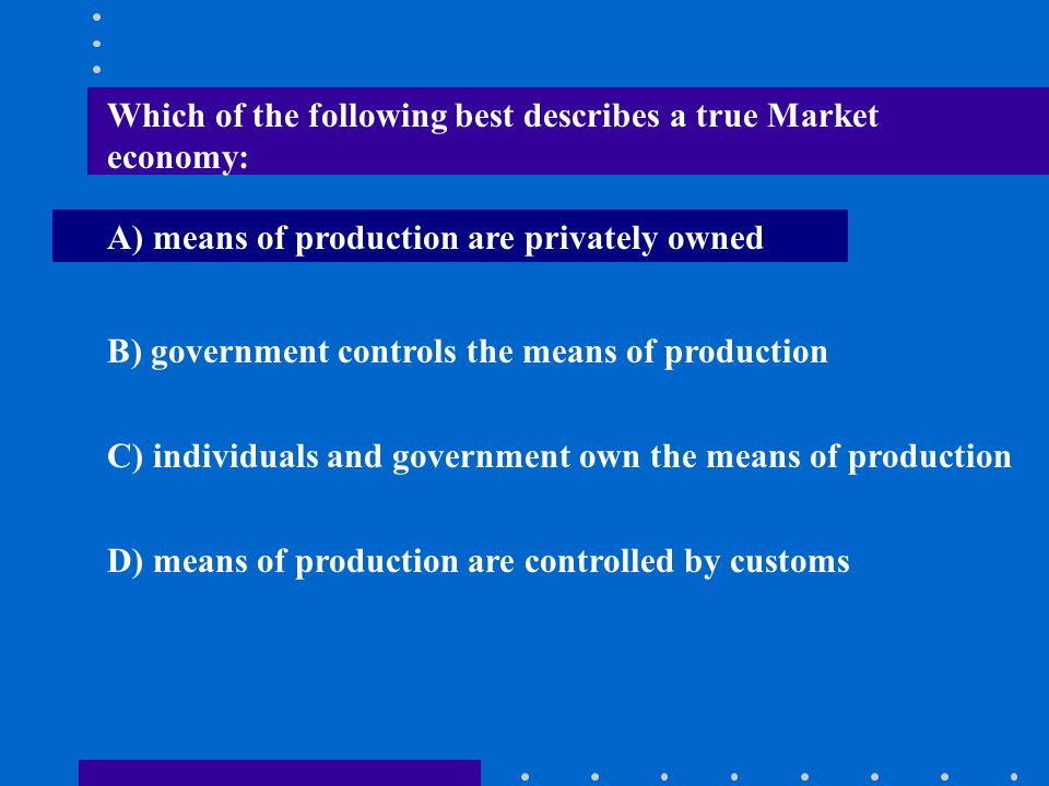 Which of the following best describes a true Market economy: