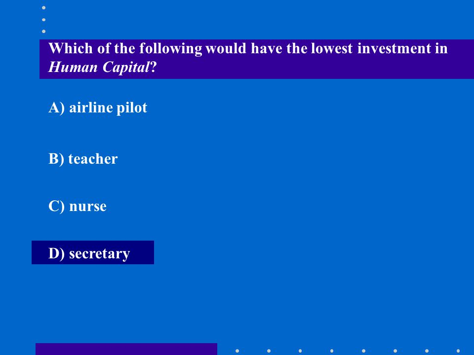 Which of the following would have the lowest investment in Human Capital