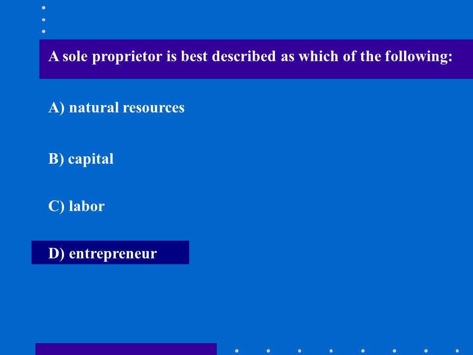 A sole proprietor is best described as which of the following: