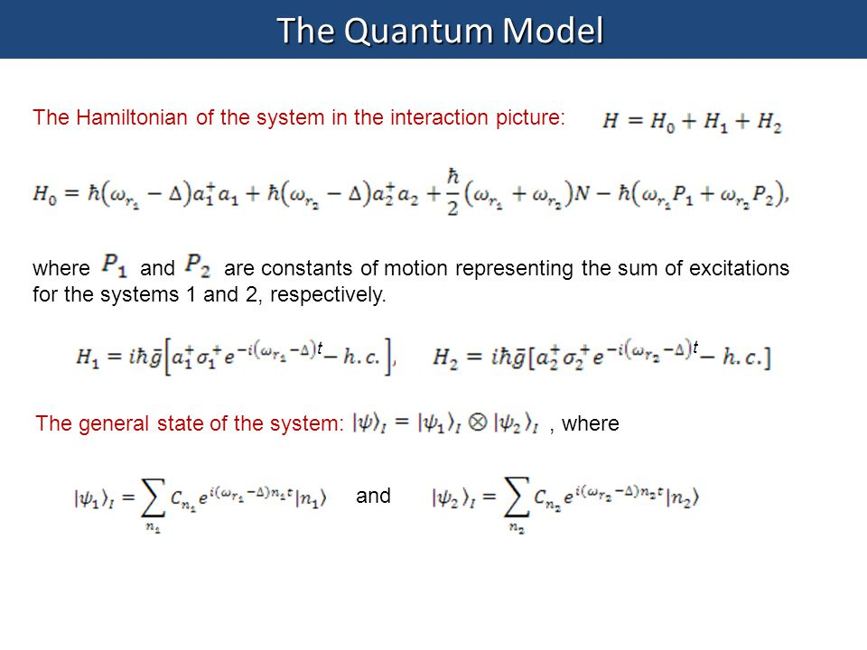 The Quantum Model The Hamiltonian of the system in the interaction picture:
