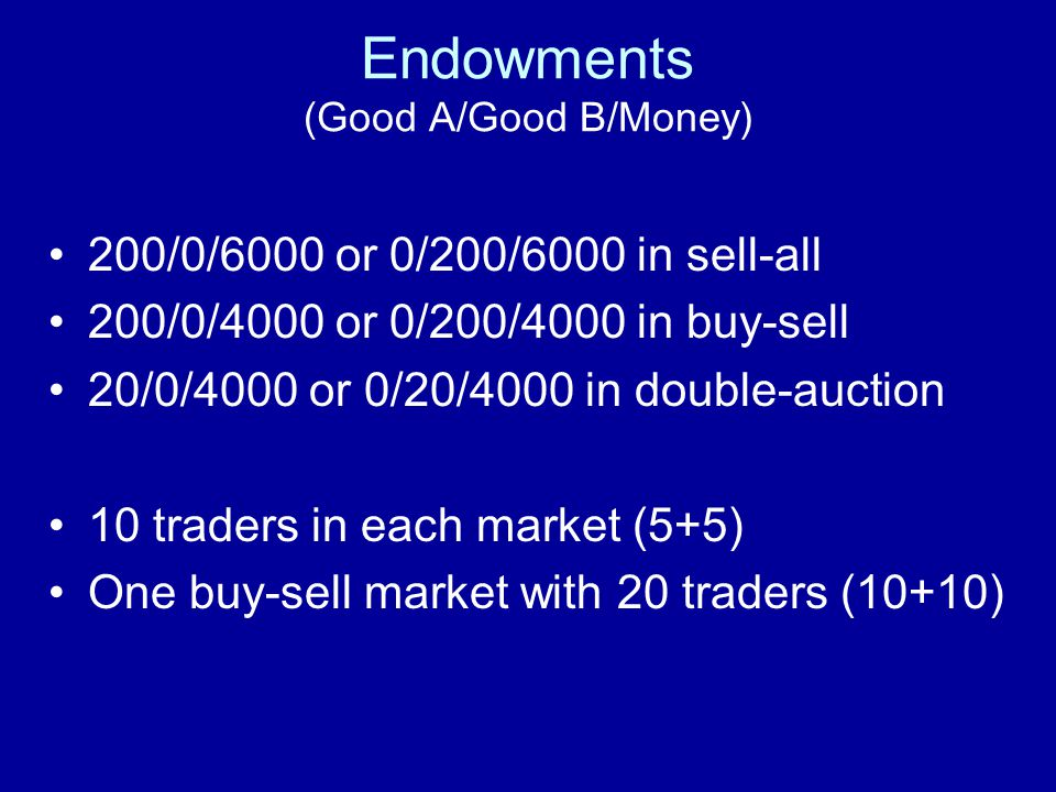 Endowments (Good A/Good B/Money)