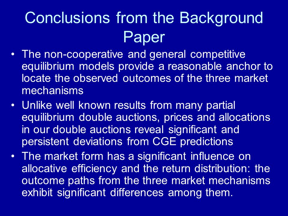 Conclusions from the Background Paper