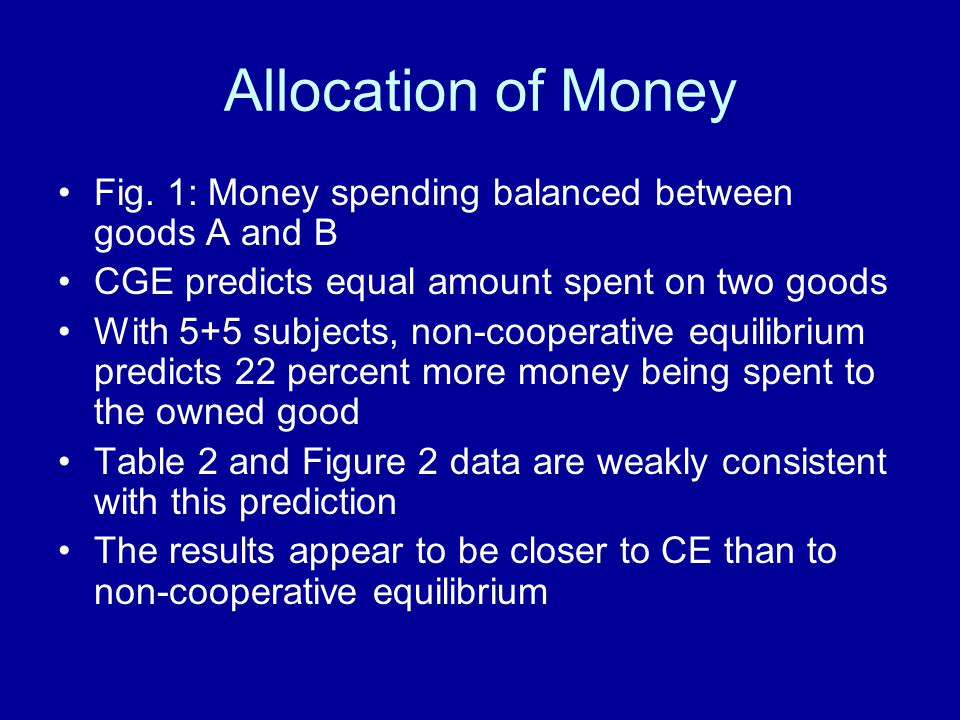 Allocation of Money Fig. 1: Money spending balanced between goods A and B. CGE predicts equal amount spent on two goods.