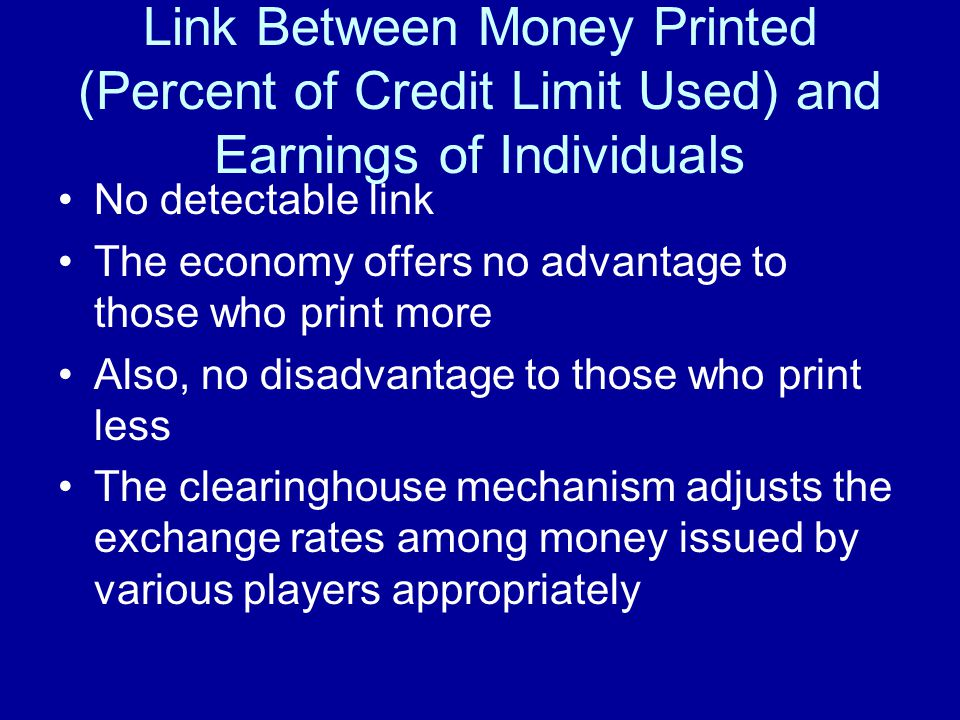 Link Between Money Printed (Percent of Credit Limit Used) and Earnings of Individuals