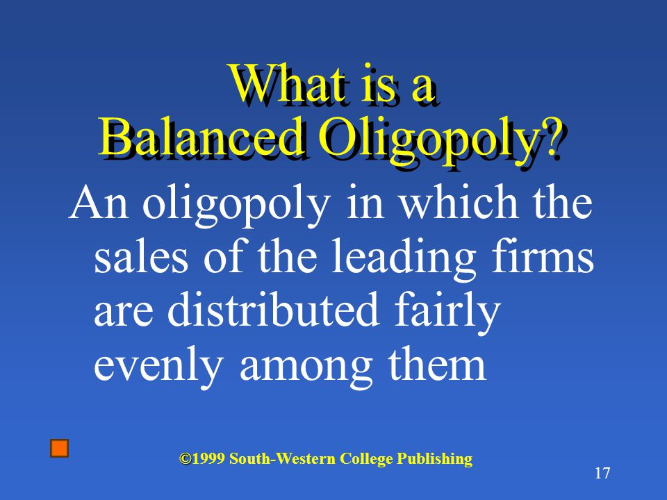 What is a Balanced Oligopoly