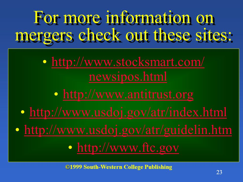 For more information on mergers check out these sites: