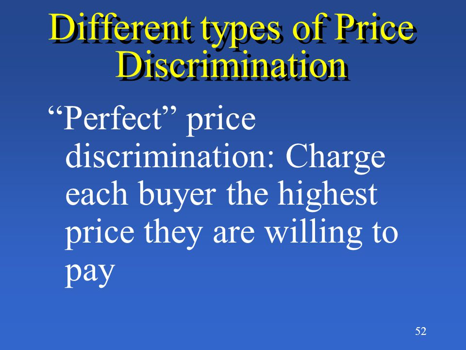 Different types of Price Discrimination