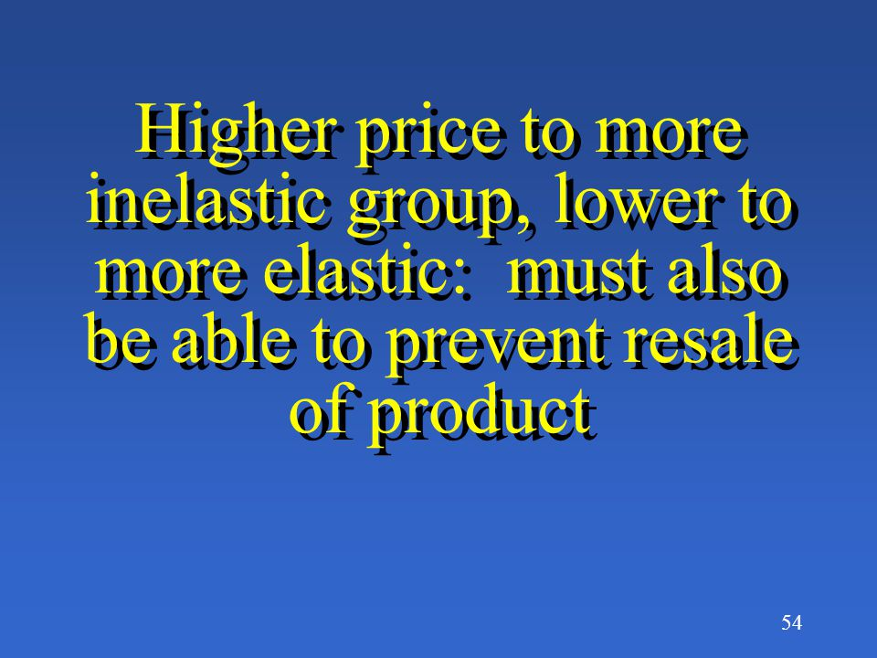 Higher price to more inelastic group, lower to more elastic: must also be able to prevent resale of product