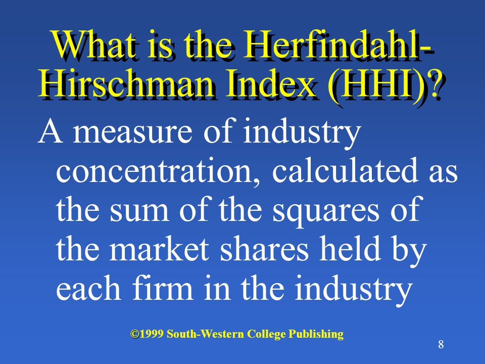 What is the Herfindahl-Hirschman Index (HHI)